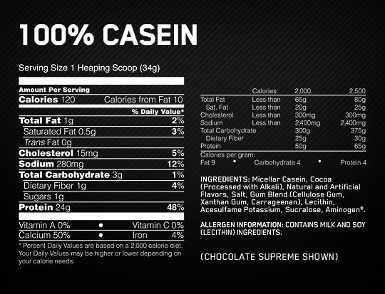 Optimum Nutrition Gold Standard Casein Supplement Facts