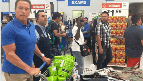Arnold Schwarzenegger buys his own protein at wal mart